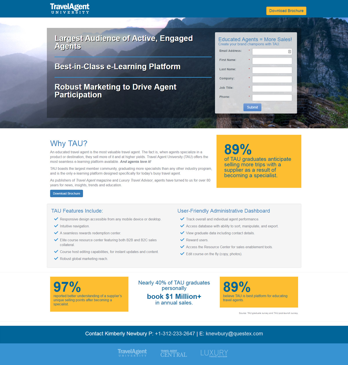Travel Agent University Landing Page with Lead Generation
